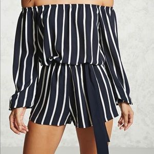 Navy and white off the shoulder romper